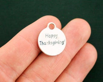 5 Happy Thanksgiving Charms Antique Silver Tone - SC5839