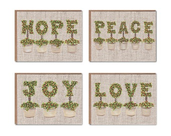 Assorted Topiary with Berries on Burlap Notecards Boxed Set