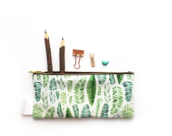 Tropical, Ferns, Pencil Case, Pouch,Jungle,  Zipper Bag, Make Up Bag, Cosmetic Bag, Small Bag, Floral, Essentials Bag, Stationery, Purse,