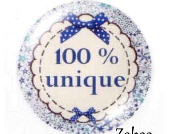 2 cabochons 25mm glass, 100% unique, ornate blue tone