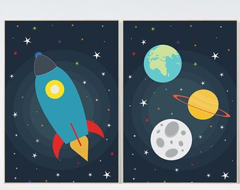 Space nursery decor, outer space nursery wall art, nursery set of 2, outer space decor print kids room decor nursery prints baby boy nursery