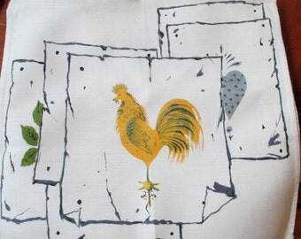 Vintage Linen Towel, Yellow Rooster, Never Used, French Country Kitchen, Farmhouse Kitchen, Vintage Linens