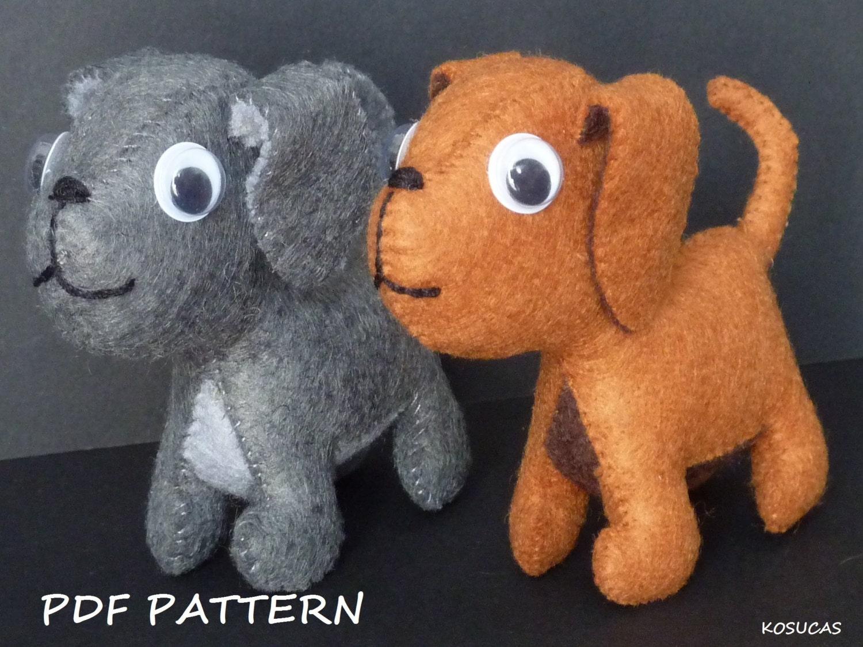PDF pattern to make a little felt dog.