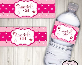 American Gal Inspired Water Bottle Labels 2 x 8 inches, Digital Download