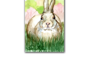 Wild Bunny Spring Baby Original Nursery Watercolor Original LLMartin New Mom Rabbit Free Shipping USA