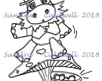 2083 Leprechaun Hippo Digi Stamp