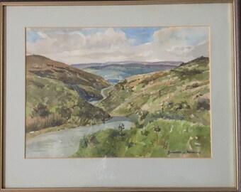 Framed Original Watercolour Of A Mountain Scene By Edward Rawlins
