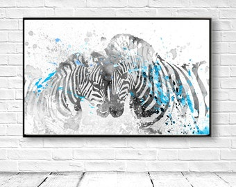 Zebra Art Print, Zebra Art, Zebra Decor, Zebra Printable, Digital Zebra, Large Wall Decor,Blue Zebra, DIY Wall Art, Zebra Painting, Instant