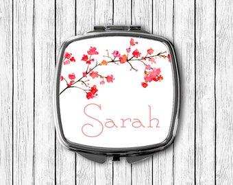 Cherry Blossom Branch and Custom Name Pocket Mirror