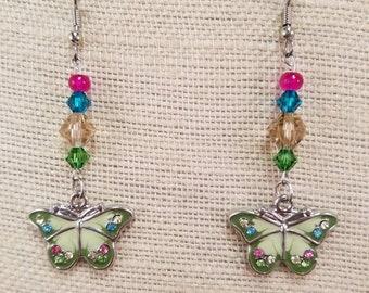 Springtime Butterfly Earrings - Crystal Jewelry -  Earring Gift