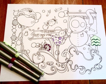 Doodle Story Creatures Coloring Page Signs Original Art Instant Download Fun Funny Design