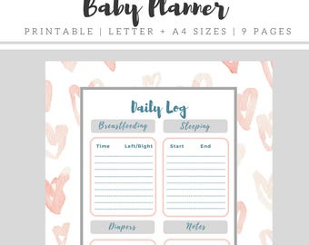 Baby Planner Printable, Baby Feeding Schedule Instant Download, Newborn Baby Log Printable, Breastfeeding Tracker, Nanny Log, New Mom Diary