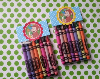 6 Curious George crayons party favor, Anna and Elsa, doc mcstuffins, pinkalicious, cinderella, abby caddaby