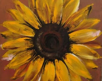 Large Original Sunflower Painting on Wood Yellow Flower Art