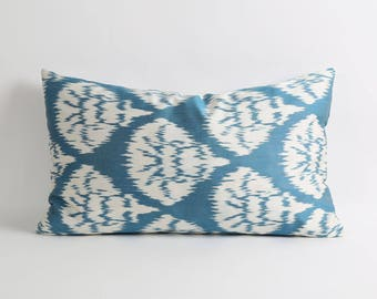 Blue and white silk ikat pillows Double sides fabric 16x26 inch decorative throw lumbar handwoven handdyed silk ikat pillow cover
