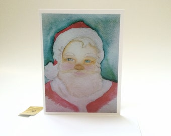 Santa Claus watercolor Card, made on recycled paper, comes with envelope and seal