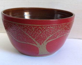 Handmade Sgraffito Stoneware Tree Bowl