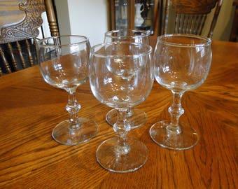 Vintage Simplistic Cordials, Set of 6, Simple Shot Glass, Unadorned Liqueur Glasses, Aperitif, Sherry, Barware, Stemware