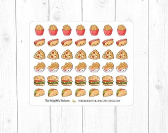 Kawaii fast food planner stickers, kawaii stickers, food stickers, cute stickers, cute planner stickers,