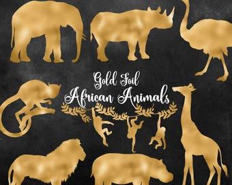 Gold Foil African Animals Clipart, safari animal clip art illustrations, gold png elephant, lion, giraffe, rhino, hippo digital download