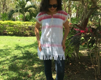 Tradicional Mexican  ~   Baby Pink with white ~ Blouse of Loom