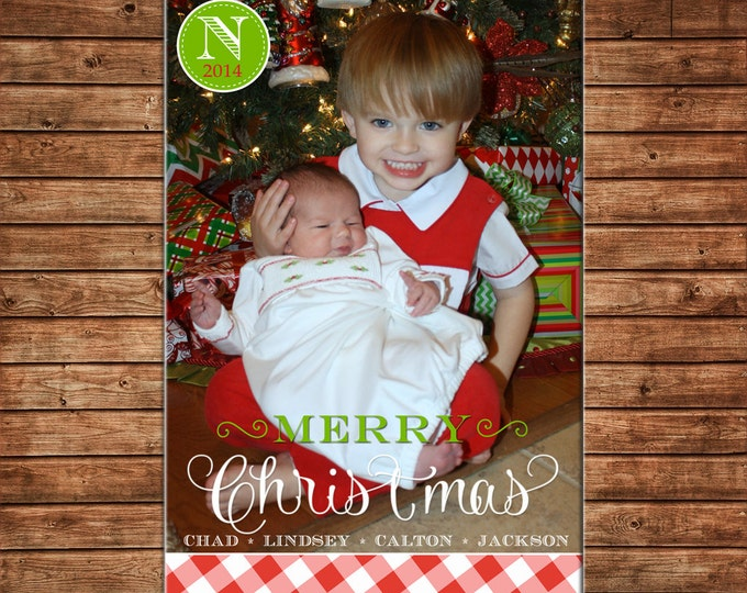 Photo Picture Christmas Holiday Card Red Buffalo Gingham Check Monogram - Can Personalize - Printable File or Printed Cards