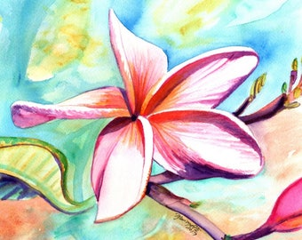 Plumeria Paintings, Original Watercolors, Tropical Flower Painting, Frangipani Art, Kauai Fine Art, Hawaiian Hawaii Maui Oahu kauaiartist