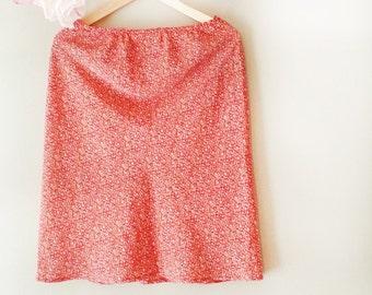 Vintage Skirt, Office Skirt, Skirt, BohoChic, Work Skirt, Summer Skirt, Bohemian, Red Skirt, Floral Skirt, Granny Skirt, Hippie, Gypsy, Boho