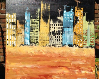 "ORiGiNAL 24 x 24 Landscape ABSTRACT""  -""CiTY NiGHT by the BEACH""  original Acrylic Paint on canvas   -   24"" X 24""   (17-0823)"