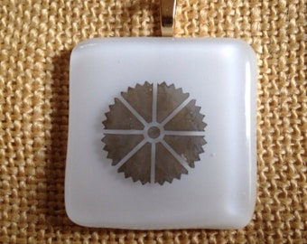 White with a gold pinwheel fused glass pendant