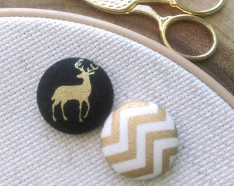 Needle Minder, Stag, Deer, Chevron, Gold, Black, Scout and Remy 2 Piece Reversible Needleminder, for Cross Stitch, Sewing, Embroidery