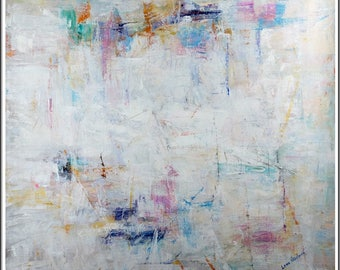 "Original Oil On Canvas Beautiful Abstract Painting 49"" x 49"" Elegant Modern Style Signed Lena"