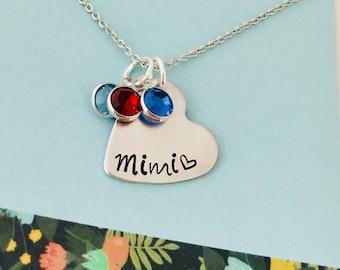 Mom Birthstone Necklace, Mimi Necklace, Personalized Mom Necklace, Personalized Birthstone Necklace, Mommy Necklace