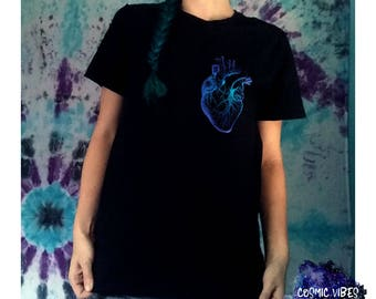 Watercolor Heart Short Sleeve Unisex T-Shirt - Anatomical Heart Cotton Ringspun Cotton Tee Shirt - Gift Idea For Him or Her