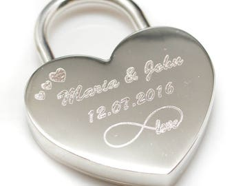 Engraved lock // Love padlock // Custom Lock // Heart Love Padlock // Wedding gift // Personalized Padlock // gift //