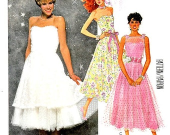 Vintage 80's Strapless Full Circle Skirt Dress Pattern Size 12 Bust 34 Optional Over Bodice Sash Attached Ruffled Slip McCall's 2470 Uncut