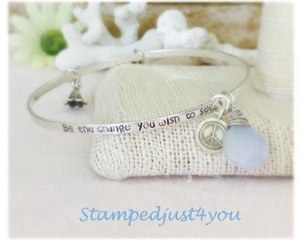 Design your own personalized, Handstamped, Sterling silver and fine silver bangles