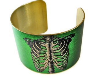 Anatomical Ribcage cuff bracelet brass Gifts for her