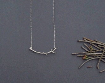 Silver Branch Necklace, Silver Twig Necklace, Silver Tree Necklace, Nature Necklace, Forest Jewelry