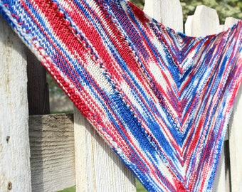 Hand knit shawl, red white and blue shawl, adult shawl, hand knit wrap, wrap shawl