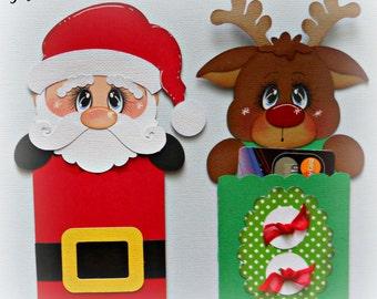 Christmas Handmade Santa Rudolph Gift Card Holders Gift Wrapping Premade SET OF 2