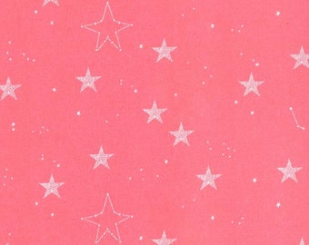 Magic Lucky Stars Coral Pink Sarah Jane Michael Miller - Jersey KNIT cotton lycra spandex stretch fabric - choose your cut