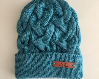 Teal Cable Knit Toque