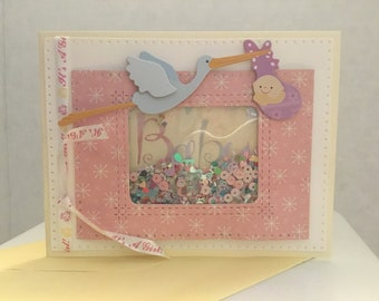 Stork and Baby Girl Shaker Card B07