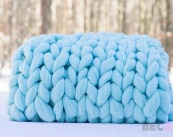 DIY Arm Knit Kit,30x50, Merino blanket, Chunky Knit DIY knitting kit