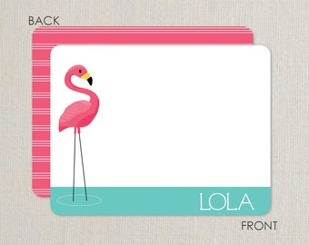 Flamingo Thank you Notes - Pool Party - Flat Notecards Stationery with 2-sided printing - pink and aqua