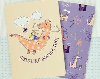 Dragon Notebook Gift Set - Dragon Stationary - Girls Like Dragons Too! - Dragon Journal - Dragon Gift - Cute Stationary - Notebook Set