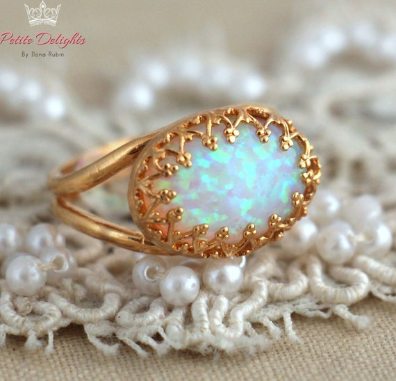 Items Similar To Opal Ring Exquisite Braided Opal: Items Similar To White Opal Ring, Opal Gold Ring, Opal