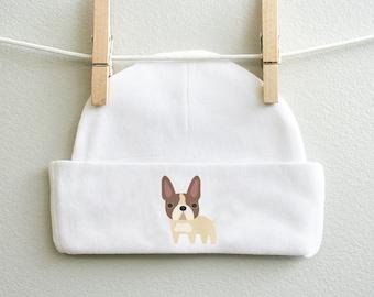 French Bulldog baby beanie, cotton baby cap, baby boy cap, baby girl cap, baby shower gift