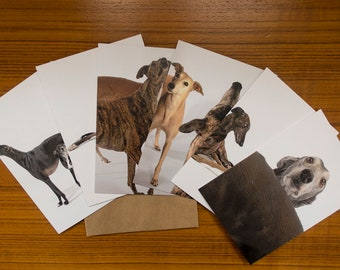 Set of 6 ASSORTED Greyhound Greeting Cards,